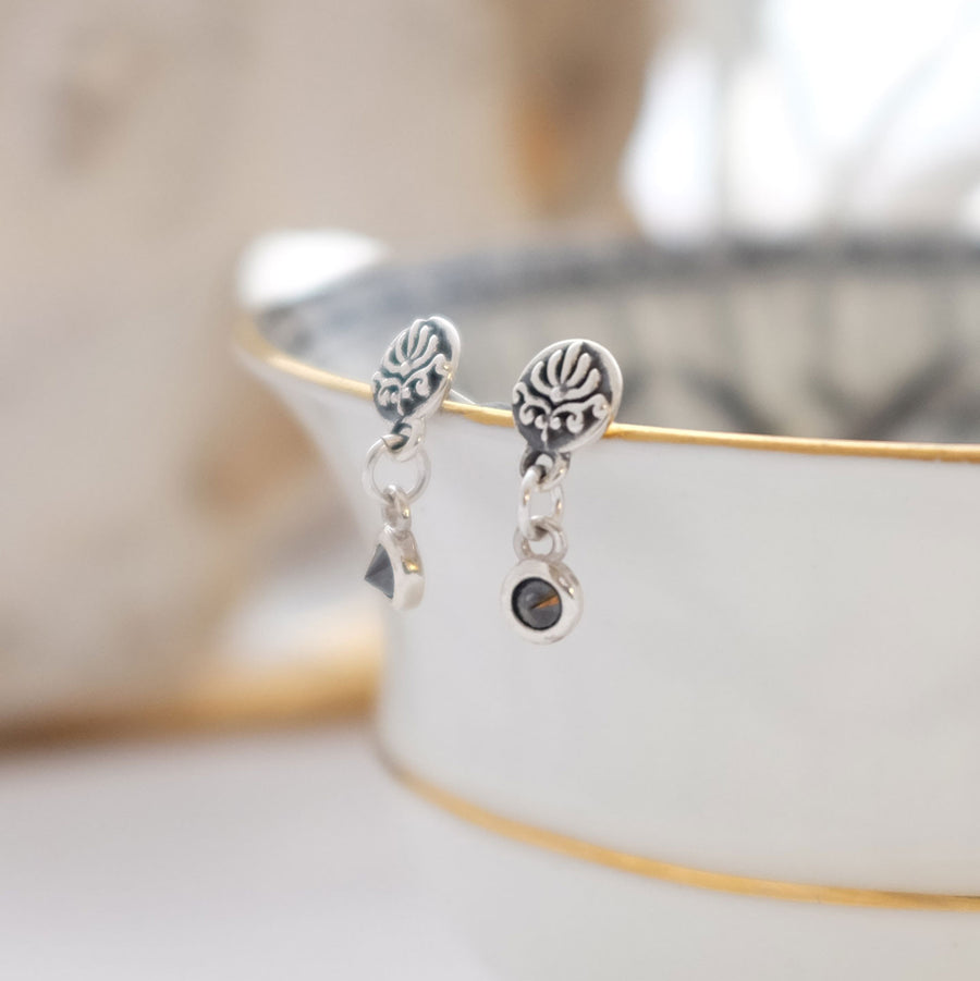 Silver and Black Diamond Baroque Drop Studs