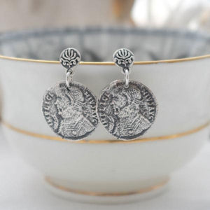 Silver Baroque Coin Drop Earrings