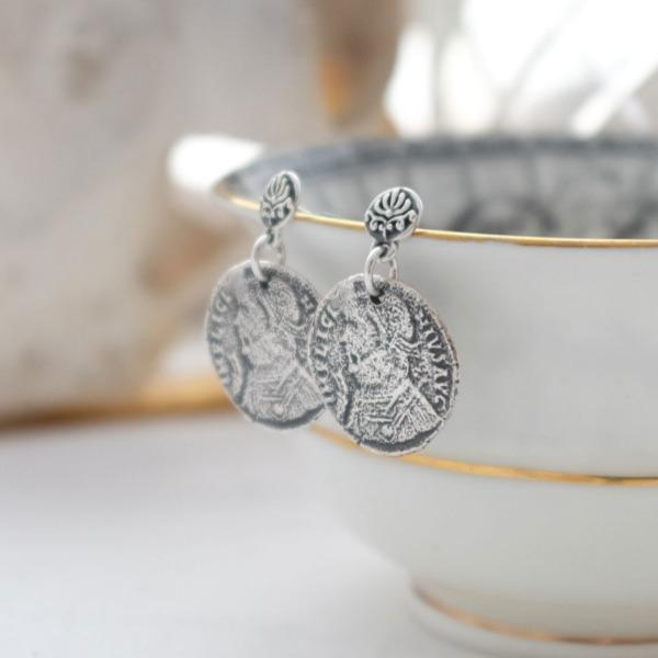 Dark Baroque Earrings with Coin