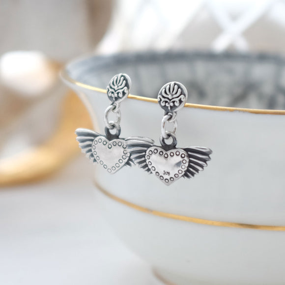 silver baroque winged heart drop earrings
