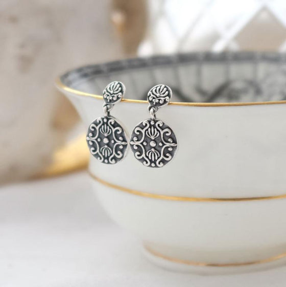 Silver Baroque Drop Earrings
