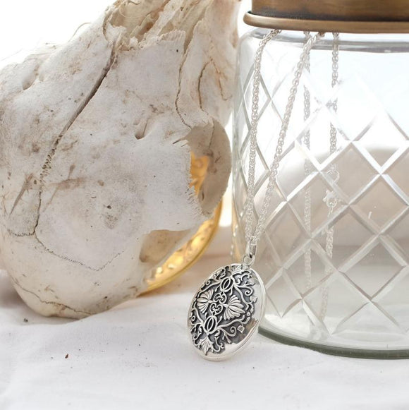 Silver Baroque Locket Necklace