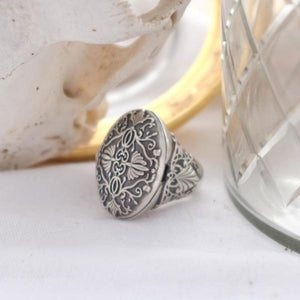 Baroque Silver Poison Ring