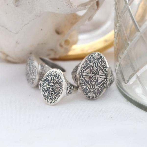 Set of three silver baroque rings