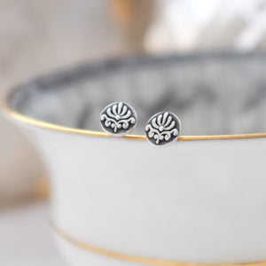 tiny silver baroque ear studs