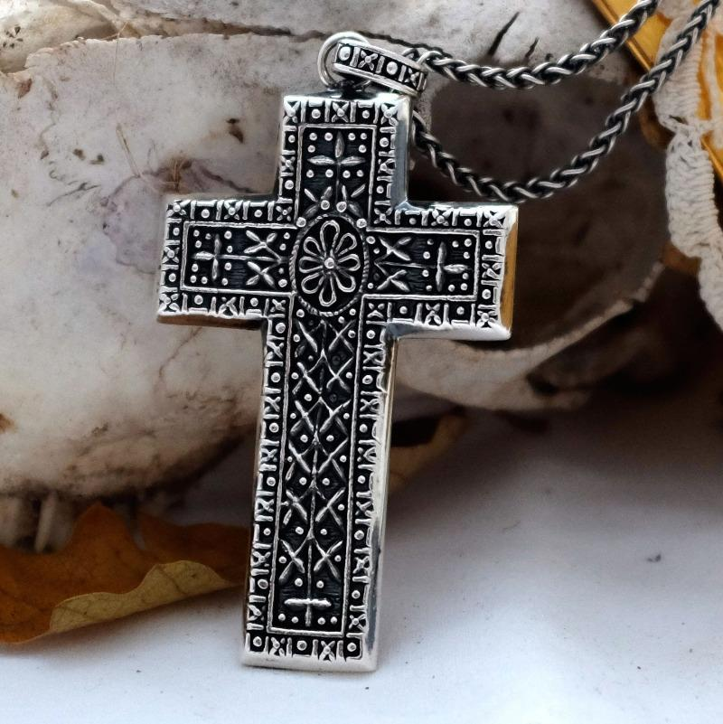 Large ornate silver baroque cross necklace