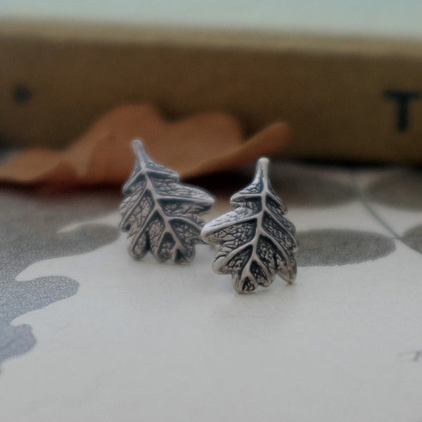 Oak Leaf Silver Ear Studs by Joy Everley