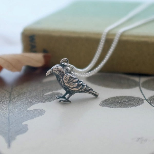 Silver Raven Necklace - Joy Everley Fine Jewellers, London
