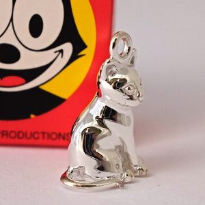 silver cat charm side view