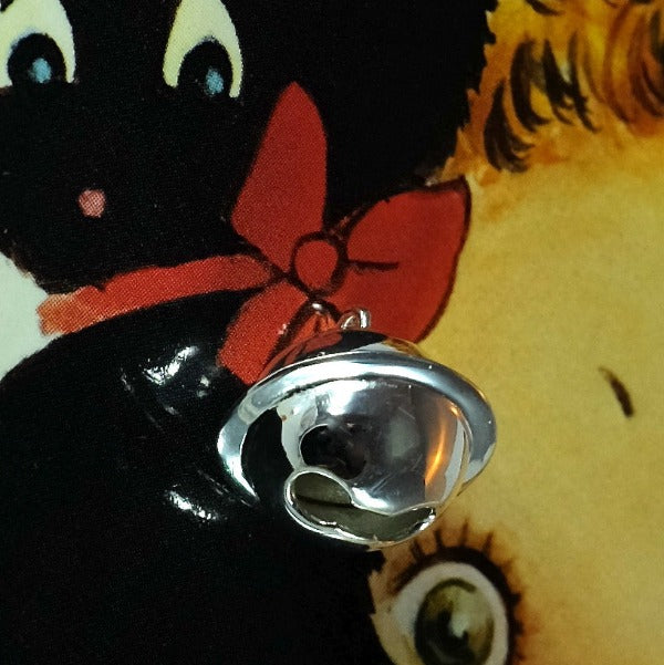 sterling silver cat bell charm