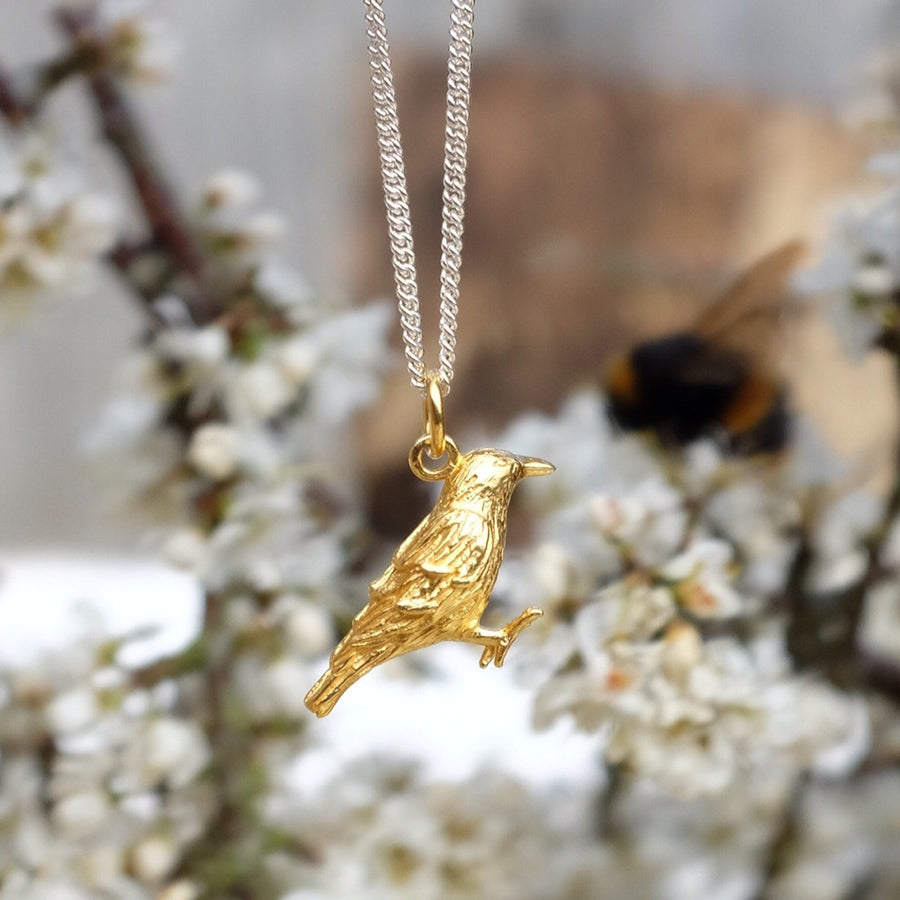 Vermeil and Silver Raven Necklace by Joy Everley