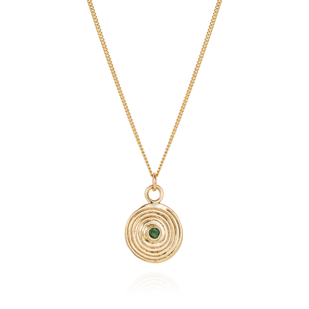 Gold Spiral Necklace with Emerald