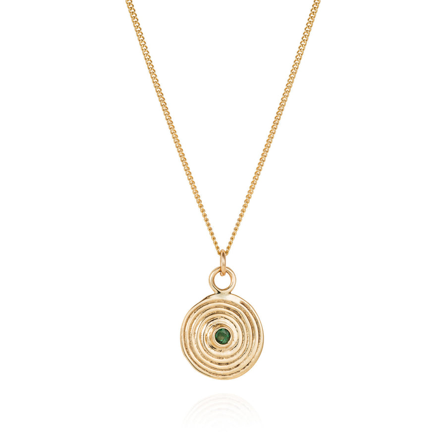 Gold Spiral Necklace with Emerald - Joy Everley Fine Jewellers, London