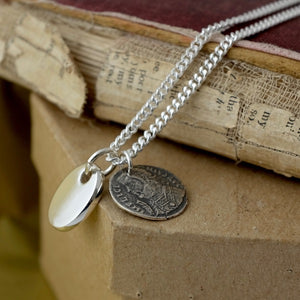 Silver Pebble Tag & Old Coin Necklace by Joy Everley