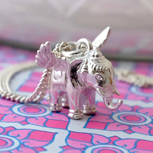 Flying Elephant Silver Necklace by Joy Everley