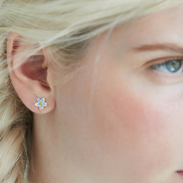 Forget Me Not Silver & Enamel Ear Studs by Joy Everley
