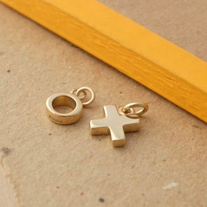 Solid Gold Kiss Cross Charm by Joy Everley