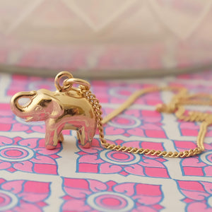 Solid Gold Lucky Elephant Necklace by Joy Everley