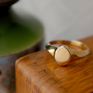 Solid Gold Oval Signet Ring