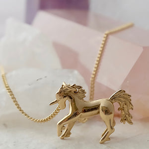 Solid Gold Unicorn Necklace by Joy Everley
