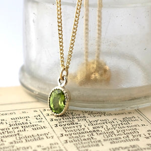 Solid Gold Baroque Peridot Necklace by Joy Everley