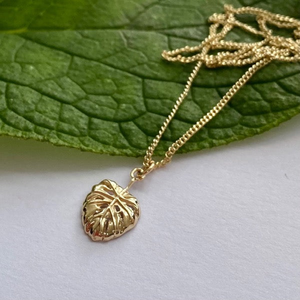 Solid Gold Cheese Plant Leaf Pendant by Joy Everley