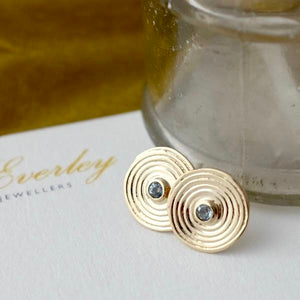 Aqua Marine Solid Gold Spiral Ear Studs by Joy Everley