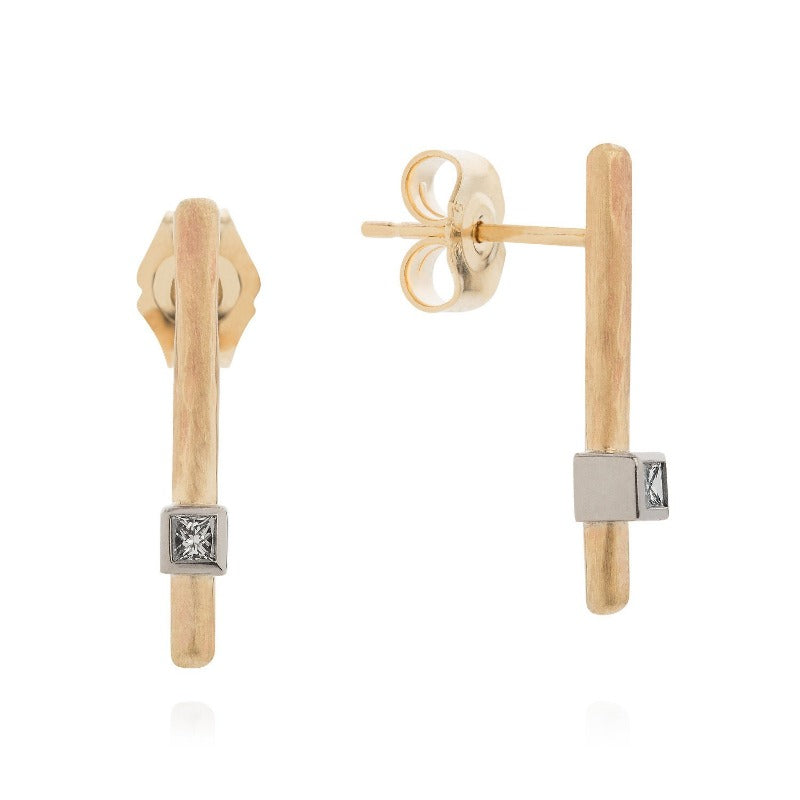 Textured Bar Diamond Ear Studs - Joy Everley Fine Jewellers, London