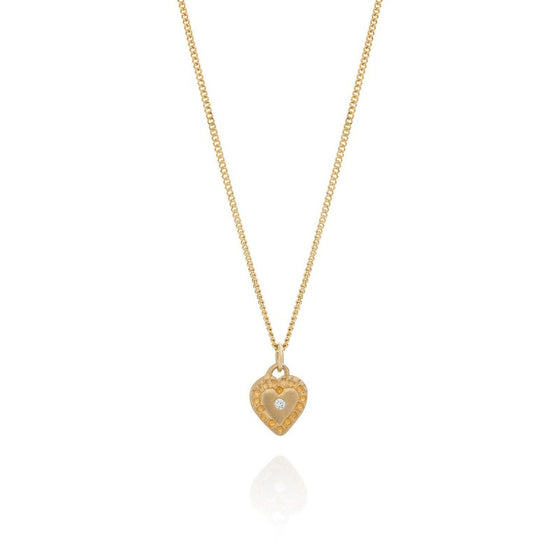 9ct yellow gold heart with diamond necklace