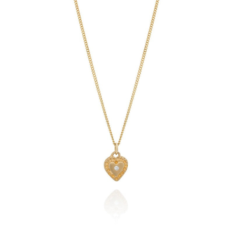 9ct yellow gold diamond heart necklace