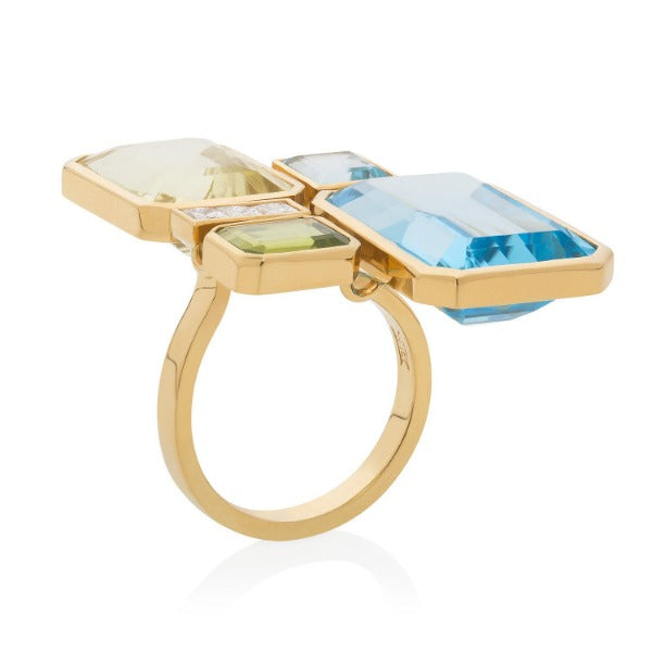 Bespoke 18ct yellow gold cocktail ring with blue topaz, diamond, peridot and yellow quartz