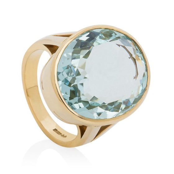 Gold Faceted aquamarine cocktail ring