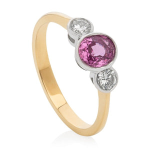 Pink Sapphire & Diamond Trilogy Ring - Joy Everley Fine Jewellers, London