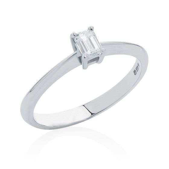 Emerald Cut Diamond Engagement Ring in 9ct white gold