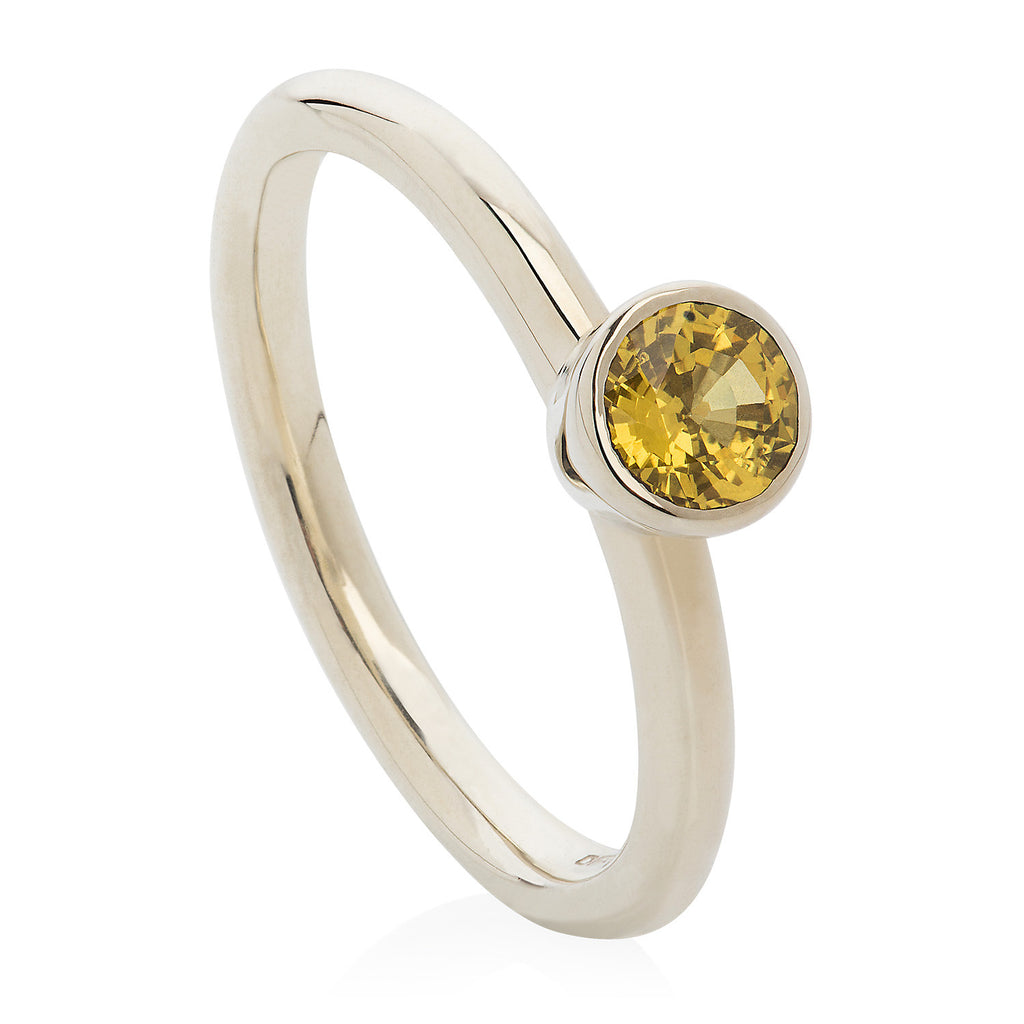 Large Yellow Sapphire White Gold Stacking Ring