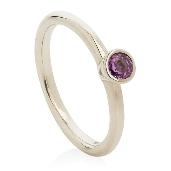 Pink Sapphire White Gold Stacking Ring