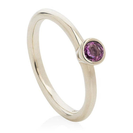 Pink Sapphire White Gold Stacking Ring - Joy Everley Fine Jewellers, London