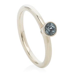 Aquamarine White Gold Stacking Ring - Joy Everley Fine Jewellers, London