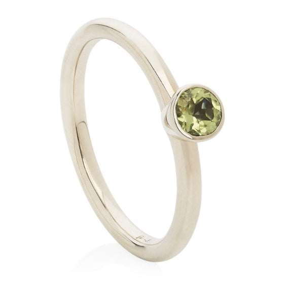 Peridot White Gold Stacking Ring - Joy Everley Fine Jewellers, London