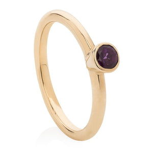 Amethyst Gold Stacking Ring - Joy Everley Fine Jewellers, London