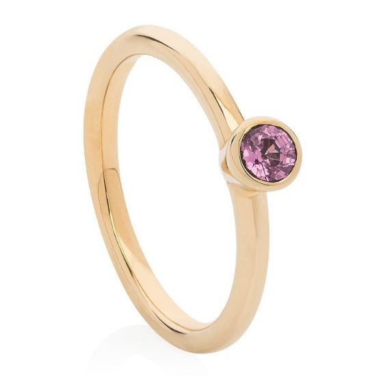 Pink Sapphire Gold Stacking Ring