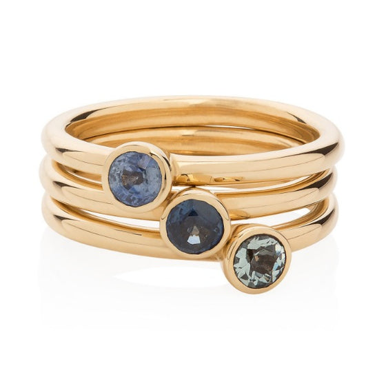 Pale Sapphire Gold Stacking Ring