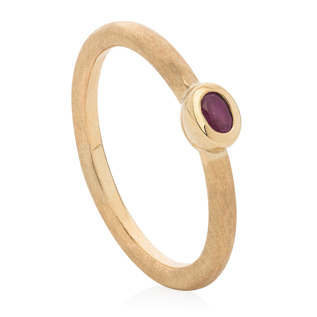 Small Ruby Hammered Stacking Ring