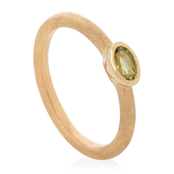 Peridot Hammered Stacking Ring - Joy Everley Fine Jewellers, London