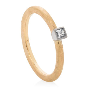 Square Diamond Hammered Stacking Ring - Joy Everley Fine Jewellers, London