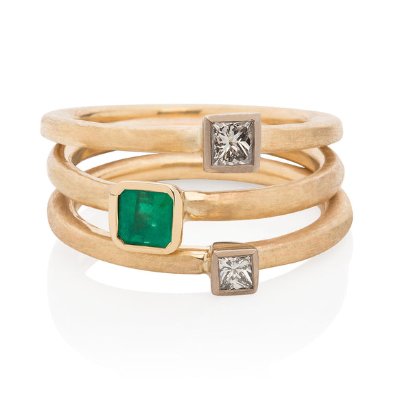 Emerald Stacking Ring 9ct yellow gold
