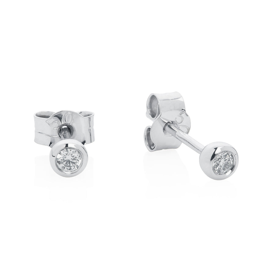 Diamond Ear Studs in White Gold by Joy Everley