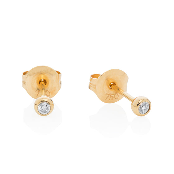 Classic diamond ear studs rub over setting 9ct yellow gold