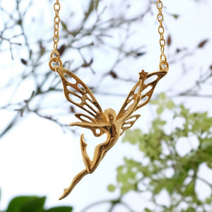 Silver Dancing Fairy Necklace by Joy Everley
