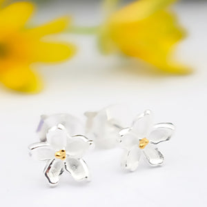 Silver and Gold Forget Me Not Ear Studs